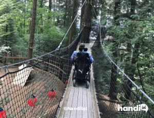 Fauteuil roulant sur un pont suspendu d'accrobranche. Photo de l'association handilol.